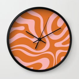 Liquid Candy Retro Swirl Abstract Pattern in Orange and Pink Wall Clock