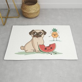 PUG DOG WATERMELON PINEAPPLE Rug