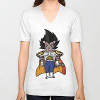 vegeta V-neck T-shirts featuring Cat Vegeta by Ricardo Melara