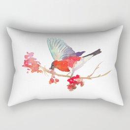 Bullfinch bird with ashberry Rectangular Pillow