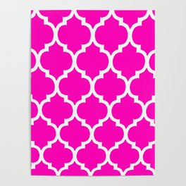 MOROCCAN PINK AND WHITE PATTERN Poster