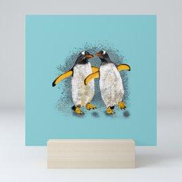 Happy penguin couple - Teal fade Mini Art Print