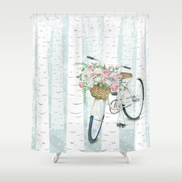 White Vintage bicycle in a Birch Forest Shower Curtain