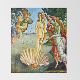 Botticelli The Birth of Venus Throw Blanket
