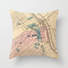 Vintage Map of New Brunswick NJ (1872) Throw Pillow