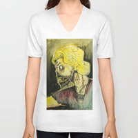 zombies V-neck T-shirts featuring zombies by Marcelo O. Maffei