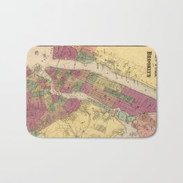Vintage Map of NYC and Brooklyn (1868) Bath Mat