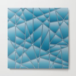 'Quilted' Geometric in blue Metal Print