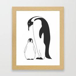 penguin mom and baby, penguin family, penguin dad Framed Art Print