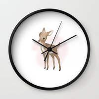 fawn Wall Clocks featuring Fawn  by Tanya Petruk