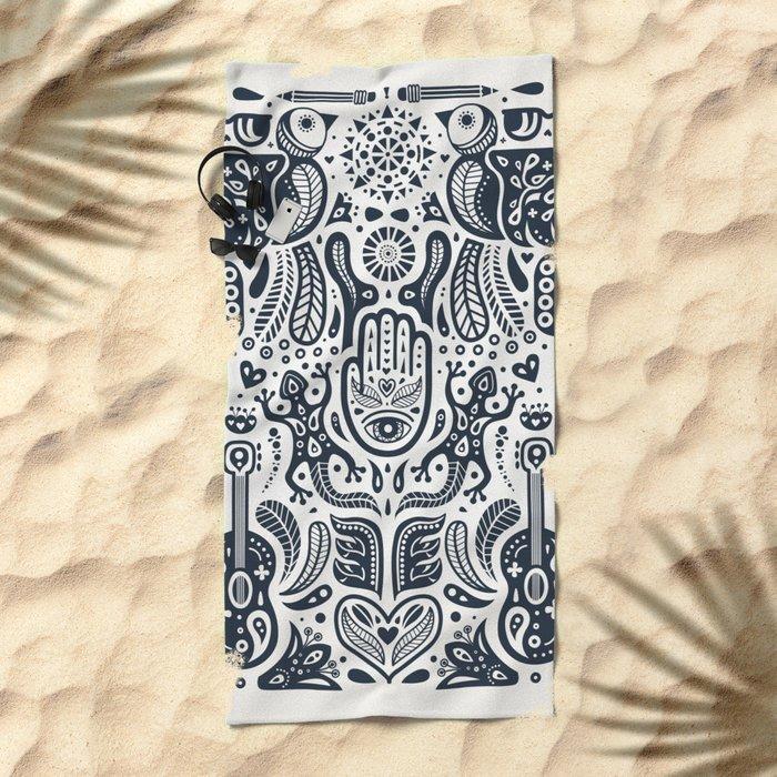 Folklore Pattern 2 Beach Towel