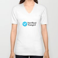 fangirl V-neck T-shirts featuring Verified Fangirl by AliyaStorm