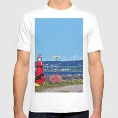 Coastal Windmill Park MEDIUM White Mens Fitted Tee