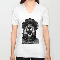 beaver V-neck T-shirts featuring Mr. Beaver by Mitzek