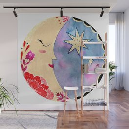 Mexican moon with folk flowers and stars Wall Mural