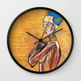 cleopatra,egypt,girl,woman,gold,cool,painting,decor,original,arab,princess,queen,jewels,abstract,god Wall Clock