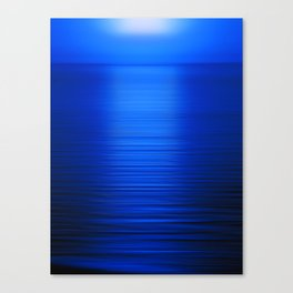 Sunset on the Water-Deep Blue Canvas Print