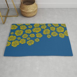 Yellow Cascading Roses on Classic Blue Rug
