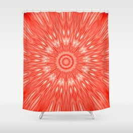 red Mandala Explosion Shower Curtain