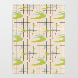 Mid Century Modern in Lime and Blush Poster