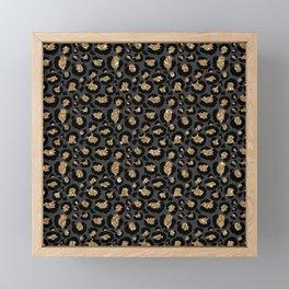 Black Gold Leopard Print Pattern Framed Mini Art Print