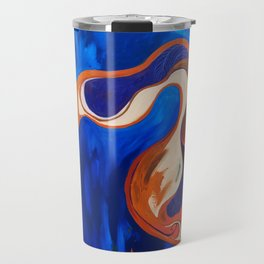 Abstract Blue and Orange Bird Travel Mug