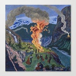 Astrup, Nikolai (1880-1928) Midsummer Night Bonfire Canvas Print