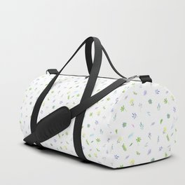 Watercolor Flower and Leaf on White. Small Floral Doodles Spring Pattern Duffle Bag