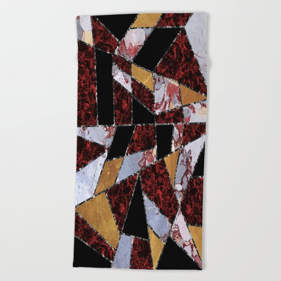Abstract #459 Stone and Metal Shards Beach Towel