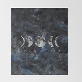 Moon Child Luna Watercolor Throw Blanket