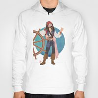 jack sparrow Hoodies featuring Captain Jack Sparrow by Lili's Damn Fine Shop