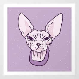 Lilac Point Seal Grumply Wrinkly Sphynx Kitty - Hairless Cat Illustration - Bad Cattitude - Line Tattoo Art Art Print