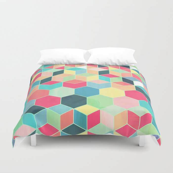 Yummy Summer Colour Honeycomb Pattern Duvet Cover
