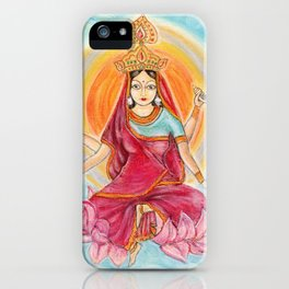 Beautiful Hindu goddess rendering Siddhidatri. Navaratri. Day 9. Pastel drawing. iPhone Case