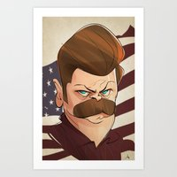 swanson Art Prints featuring Ron Swanson by nachodraws