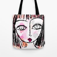 sassy Tote Bags featuring Sassy by Rachelle Panagarry
