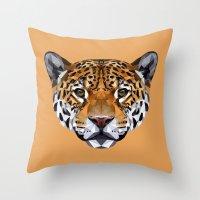 jaguar Throw Pillows featuring Jaguar by peachandguava