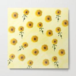 yellow sunflower pattern Metal Print