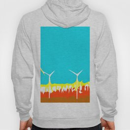 wind turbine in the desert with blue sky Hoody