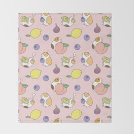 Guinea pig and fruits pattern Throw Blanket