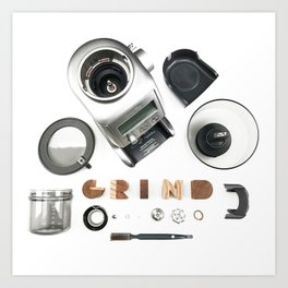 Grind // Exploded View Espresso Coffee Grinder Wood Block Typography Lettering Photograph Art Print