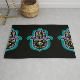Hamsa Powerful Spiritual Amulet Pattern Rug