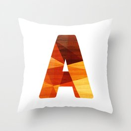Letter A - Wooden Capital Typography Throw Pillow