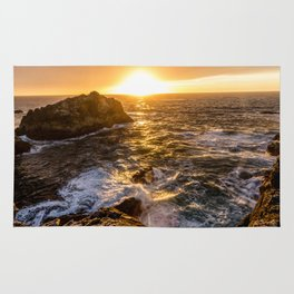 In Waves - Waves Crashing Into Rocks at Sunset In Big Sur Rug
