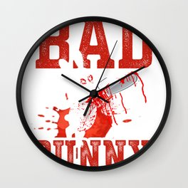 Evil rabbit with chain saw Wall Clock