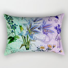 Botanical Study #2, Vintage Botanical Illustration Collage Art Rectangular Pillow