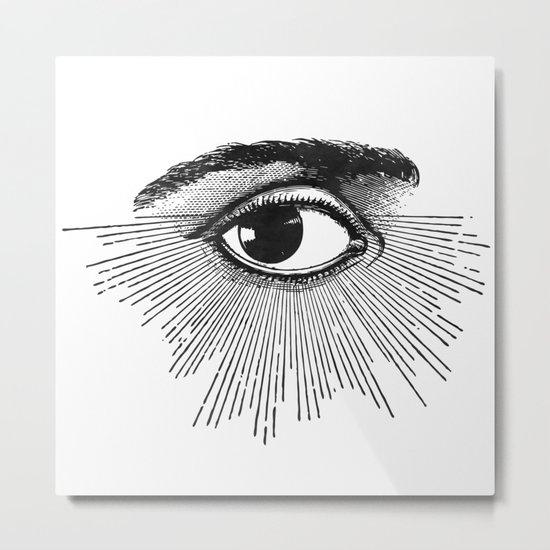 I See You. Black and White Metal Print
