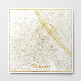 Vienna Map Gold Metal Print