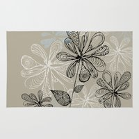 nicki Area & Throw Rugs featuring Scribbly Floral by Nicki Traikos
