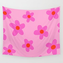 pink 70s floral, flower power print Wall Tapestry